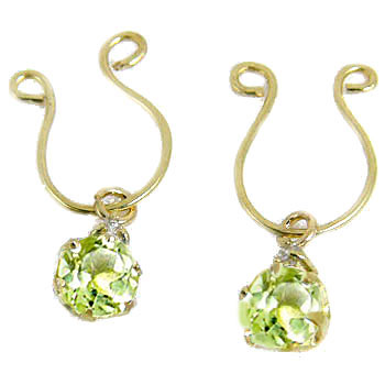 【工房直販】ペリドット:ダイヤモンド:イヤリング:イエローゴールドk18:クリップ式:K18:特別価格