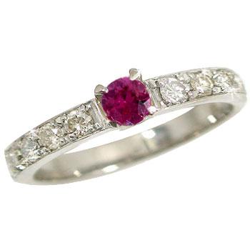 【送料無料】指輪:プラチナリング:ルビーダイヤモンドリング:pt900:特別価格 小指用にも【工房直販】