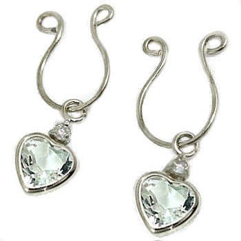 【工房直販】アクアマリン:ハート:ダイヤモンド:イヤリング:ホワイトゴールドK18:クリップ式:K18WG:特別価格
