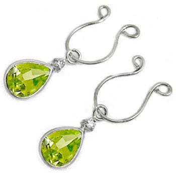 【工房直販】ペリドット:ダイヤモンド:イヤリング:ホワイトゴールドK18:クリップ式:K18:特別価格
