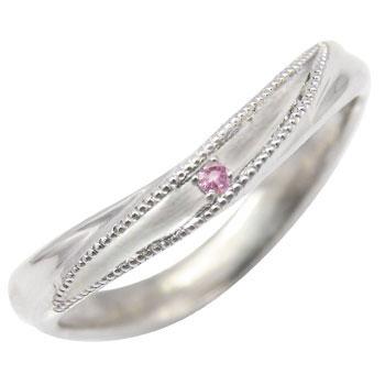 ホワイトゴールドk10リング:ピンクサファイアピンキーリング:指輪