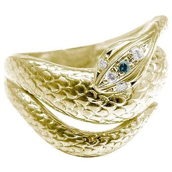 【送料無料】ダイヤモンドイエローゴールドk18蛇指輪 小指用にも【工房直販】