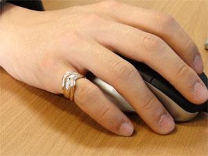 【送料無料】ダイヤモンドピンクゴールドK18白蛇指輪 小指用にも【工房直販】