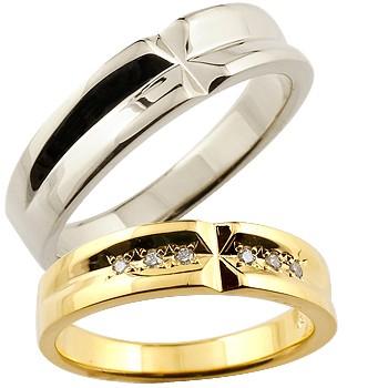 【送料無料・結婚指輪】結婚指輪:ペアリング:ダイヤモンド:ホワイトゴールドK18:クロス:K18WG:ダイヤモンド0.06ct:結婚記念リング:2本セット【工房直販】