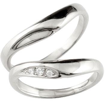 【送料無料・結婚指輪】v字 ペアリング 結婚指輪 マリッジリング キュービックジルコニア シルバー925【工房直販】