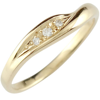 v字 ダイヤモンド リング 婚約指輪 エンゲージリング イエローゴールドk18