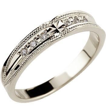 クロス プラチナ リング ダイヤモンド 婚約指輪 エンゲージリング