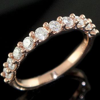 ダイヤモンド リング ハーフエタニティ ピンクゴールドk18 婚約指輪 エンゲージリング
