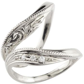 ハワイアンジュエリー プラチナ ペアリング ダイヤモンド マリッジリング