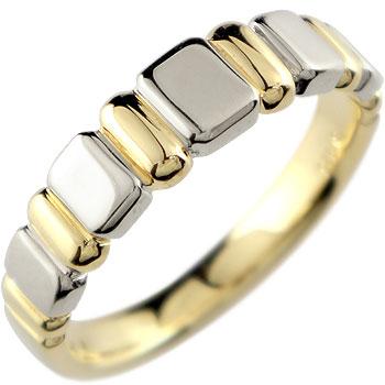 イエローゴールドk18 プラチナ リング 指輪 ピンキーリング