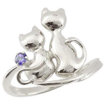 猫 リング アメジスト 指輪 シルバー 2月誕生石