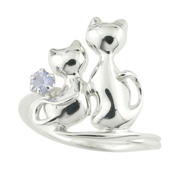 猫 プラチナ リング タンザナイト 指輪 12月誕生石
