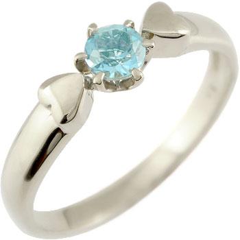 ブルートパーズ プラチナ リング ハート 指輪 ピンキーリング 11月誕生石