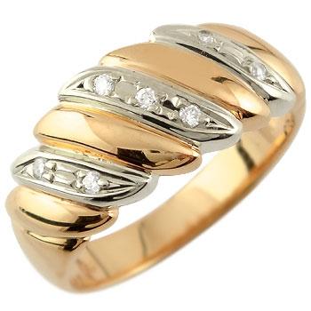 ダイヤモンド リング 幅広 指輪 ピンクゴールドk18 プラチナ コンビ