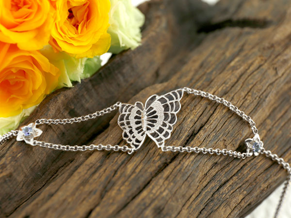 ブレスレット 蝶 バタフライ タンザナイト ホワイトゴールドk18 12月誕生石 レディース