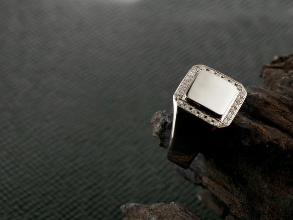ダイヤモンド 印台 リング 指輪 ダイヤ ホワイトゴールドk18