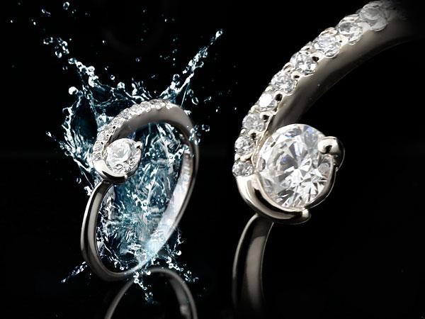 鑑定書付 ダイヤモンド リング ダイヤ エンゲージリング 婚約指輪 ホワイトゴールドk18