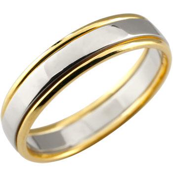 プラチナ リング 指輪 ピンキーリング イエローゴールドk18 コンビ 地金リング 宝石なし
