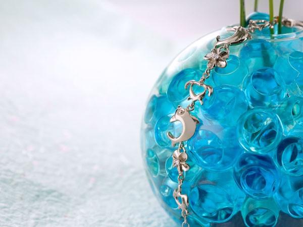 ハワイアンジュエリー ダイヤモンド ブレスレット ホワイトゴールドk18 亀 花 イルカ