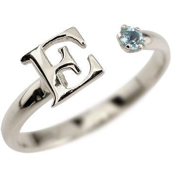 イニシャル リング ブルートパーズ 指輪 アルファベット ピンキーリング シルバー 11月誕生石