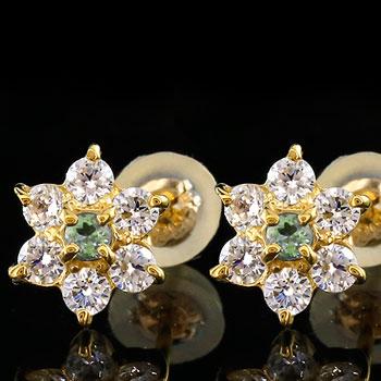 ダイヤモンド ペリドット ピアス フラワー 花 スタッドピアス レディース イエローゴールドk18