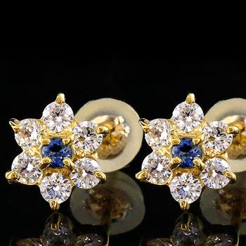 ダイヤモンド ブルーサファイア ピアス フラワー 花 スタッドピアス イエローゴールドk18 レディース