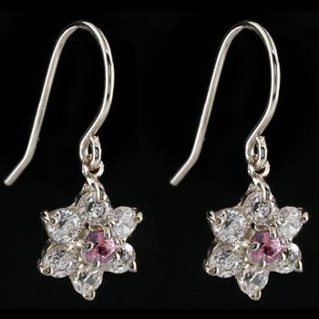 ダイヤモンド ピンクサファイア プラチナ ピアス フラワー 花 フックピアス レディース