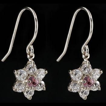 ダイヤモンド ピンクトルマリン プラチナ ピアス フラワー 花 フックピアス レディース