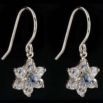 ダイヤモンド タンザナイト ピアス フラワー 花 フックピアス ホワイトゴールドk18 レディース