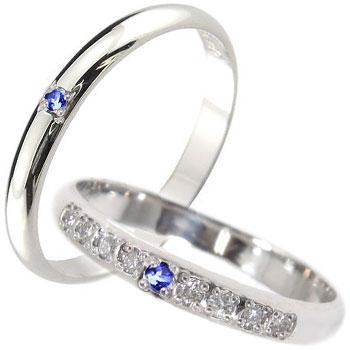 ペアリング プラチナ ダイヤモンド 結婚指輪 マリッジリング サファイア 甲丸