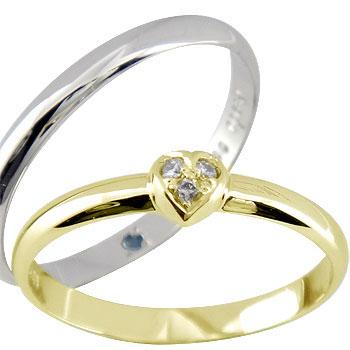 ペアリング ハート ダイヤ ダイヤモンド イエローゴールドk18 ホワイトゴールドk18 結婚指輪 マリッジリング ハンドメイド 結婚式