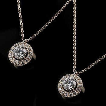 ペアネックレス ペアペンダント ホワイトゴールドk18 ダイヤモンド ネックレス ペンダント 取り巻き ミル打ち ダイヤ