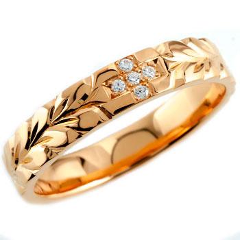 ハワイアンジュエリー クロス ダイヤモンド リング 指輪 ダイヤモンドリング ハワイアンリング ピンクゴールドk18 レディース