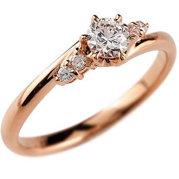 鑑定書付き 婚約指輪 エンゲージリング ダイヤモンド リング 一粒 大粒 VS 婚約指輪 ピンクゴールドK18 18金