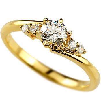 婚約指輪 エンゲージリング エンゲージリング 婚約指輪 ダイヤモンド 一粒 大粒ダイヤ 0.37ct イエローゴールドk18 18金