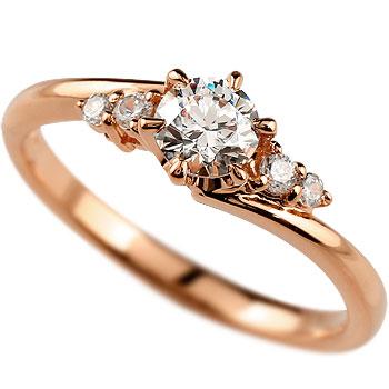 鑑定書付き VVS1クラス ピンクゴールドK18 ダイヤモンド 婚約指輪 エンゲージリング リング 一粒 大粒 ダイヤ ストレート