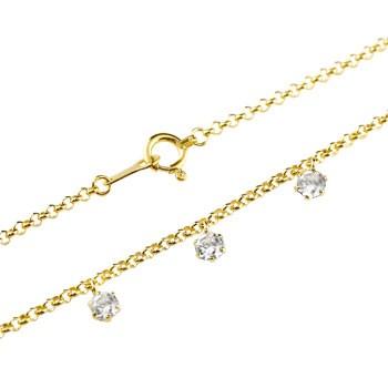 ダイヤモンド アンクレット トリロジー チェーン イエローゴールドk18 18金 4月誕生石