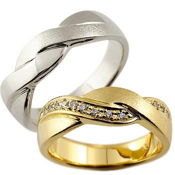 ペアリング ダイヤモンド 結婚指輪 マリッジリング 幅広 つや消し プラチナ イエローゴールドk18