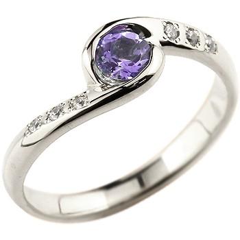 アメジスト シルバーリング 指輪 スパイラルリング ピンキーリング 2月誕生石
