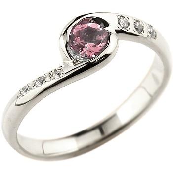 ピンクトルマリン シルバーリング 指輪 スパイラルリング ピンキーリング 10月誕生石