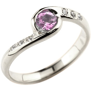 ピンクサファイア シルバーリング 指輪 スパイラルリング ピンキーリング 9月誕生石
