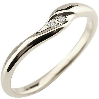 ダイヤモンドリング 指輪 ピンキーリング ダイヤ シンプル ホワイトゴールドk10 レディース
