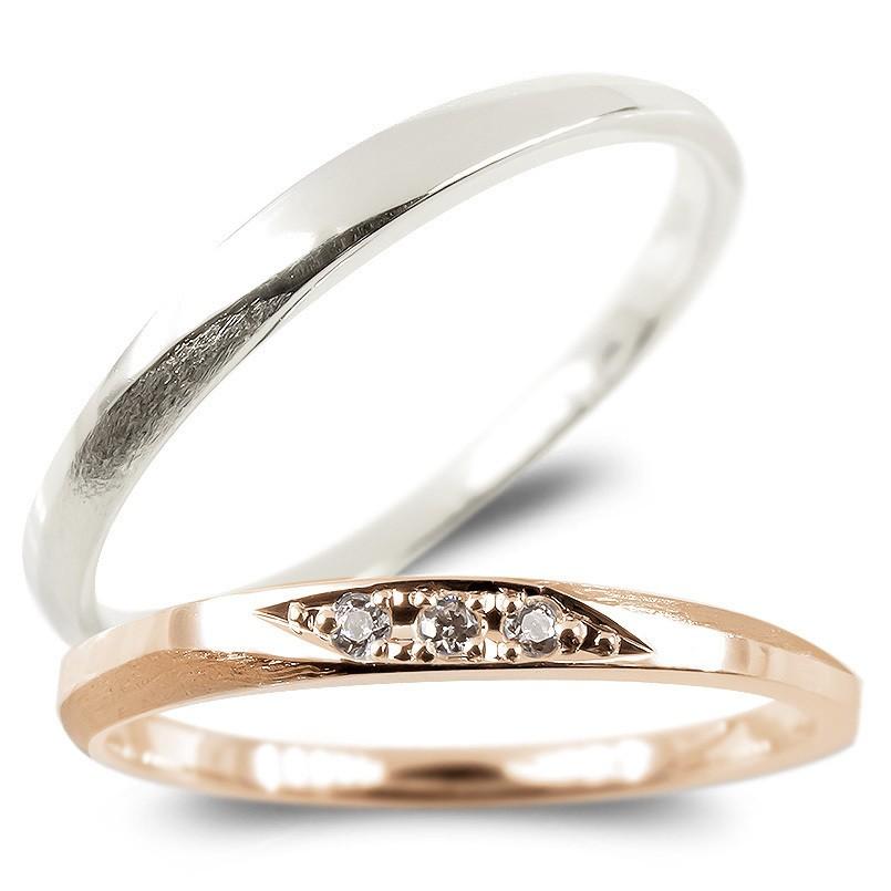 ペアリング プラチナ ゴールドk18 ダイヤモンド 結婚指輪 マリッジリング つや消し