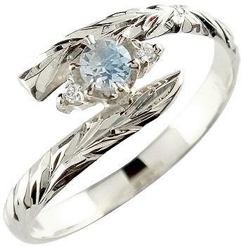 ハワイアンジュエリー リング ブルームーンストーン ホワイトゴールドk18 指輪 ハワイアンリング 6月誕生石 18金 k18wg ストレート