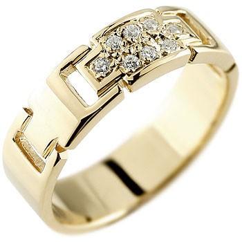 クロス ダイヤモンド リング 指輪 ダイヤモンドリング ピンキーリング イエローゴールドk18 ダイヤ 幅広指輪 十字架 18金 レディース