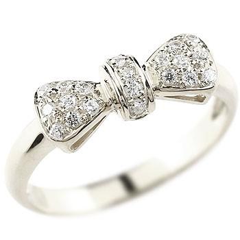 リボン リング ダイヤモンド 指輪 ピンキーリング ホワイトゴールドk18 ダイヤ ダイヤモンドリング 18金 人気 レディース