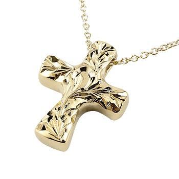 ハワイアンジュエリー クロス ネックレス ペンダント イエローゴールドk10 10金 十字架 地金 チェーン 人気