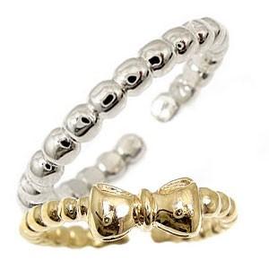 トゥリング ペアリング 結婚指輪 マリッジリング ホワイトゴールドk18 イエローゴールドk18 リボン フリーサイズリング 指輪 ハンドメイド 結婚式