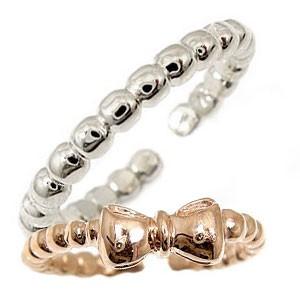 スイートハグリング ペアリング 結婚指輪 マリッジリング ホワイトゴールドk18 ピンクゴールドk18 リボン フリーサイズリング 指輪 ハンドメイド 結婚式