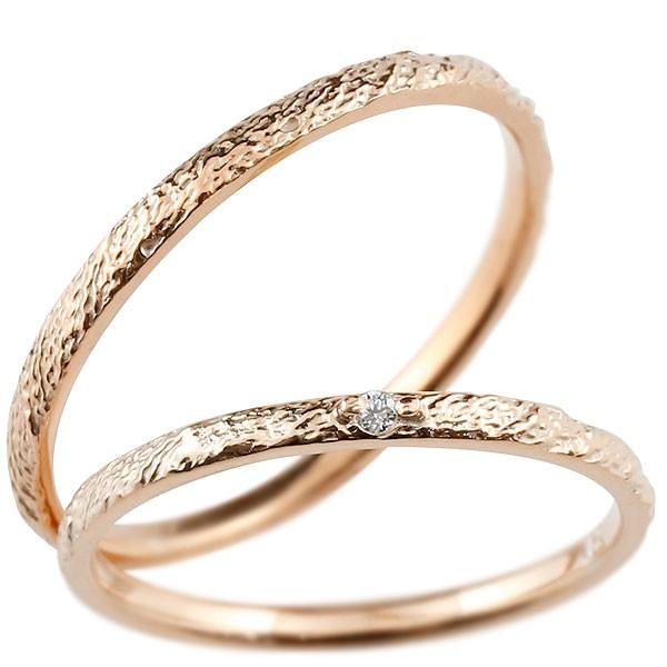 ペアリング 結婚指輪 マリッジリング ピンクゴールドk18 ダイヤモンド 18金 極細 ダイヤ 華奢 アンティーク 結婚式 ストレート